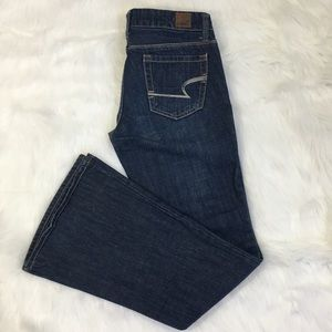 American Eagle Womens Blue Jeans Real Flare sz 0